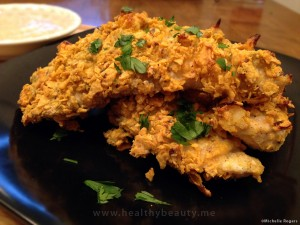 Gluten Free Crispy Oven Baked Buttermilk Chicken Tenders with Grainy Mustard Dip