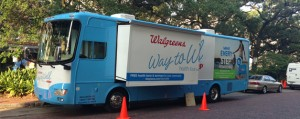 Hopping aboard the Walgreens Way to Well tour bus for a free health screening
