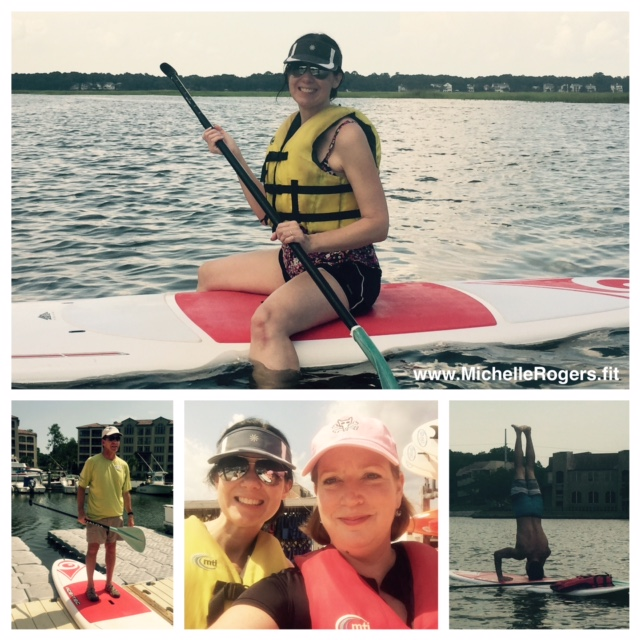 Erin and I loved the stand-up paddle boarding class. That's one of the H3 staff doing a handstand!