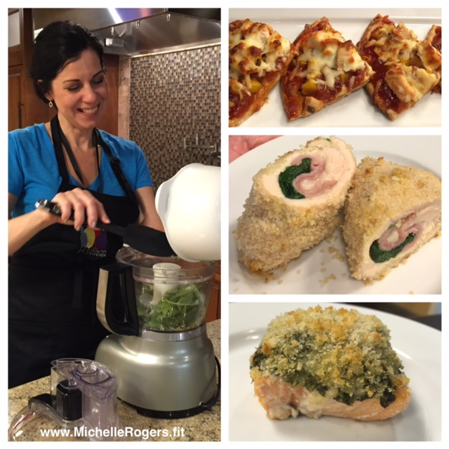 I took the Easy Freezy hands-on cooking class, where we made pita crust pizza, chicken cordon bleu, and pest-encrusted salmon. MMMM!