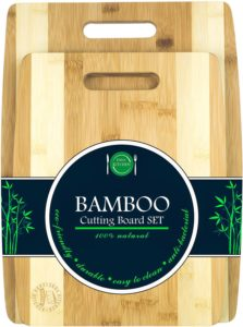 Organic bamboo cutting board set, better for knives. Click to shop.