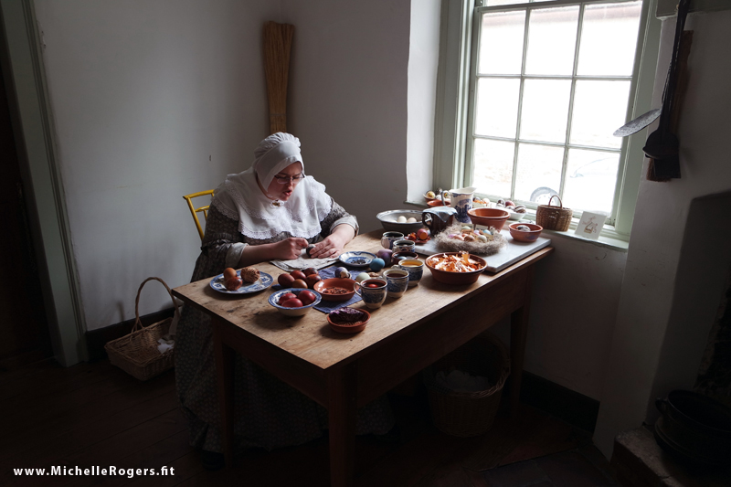 We were there on Good Friday. In one of the homes, the re-enactor was dying and etching Easter eggs using dyes made from natural products. She explained that decorating hardboiled eggs was also a tradition in those days, and that the eggs could set out year after year without rotting, in most cases.