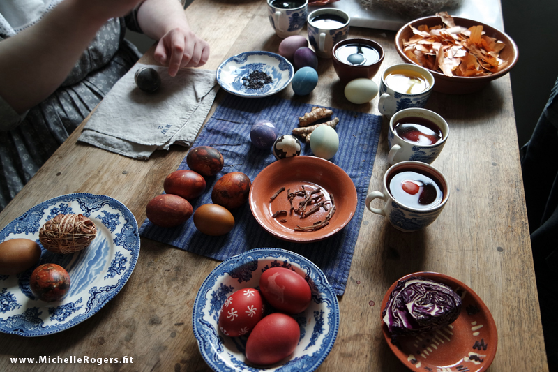 Tumeric, red cabbage and other natural materials were used in egg dyeing.
