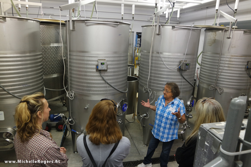 Getting a behind-the-scenes tour of the winery production area