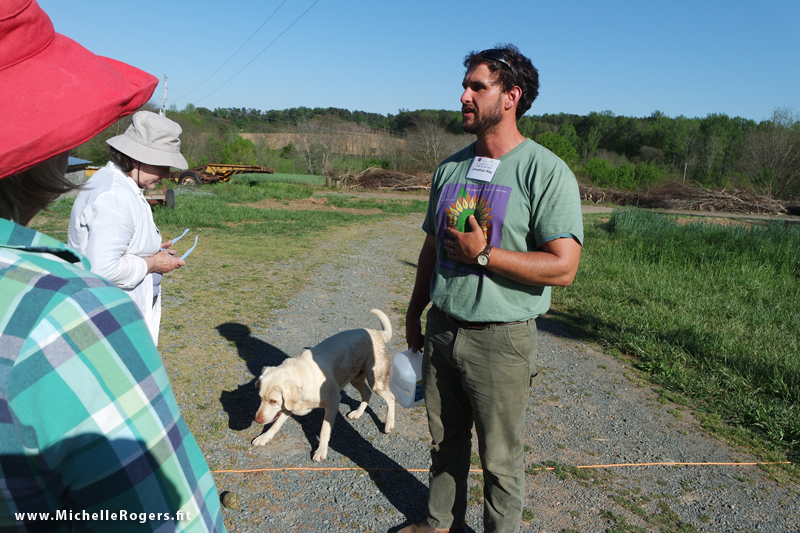 Jonathan Ray, with Buck the friendly farm dog, gives us a tour of the property.