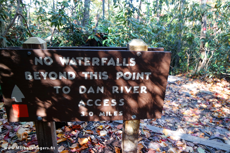 After the waterfalls, you can choose to walk the remainder of the trail, which ends at the Dan River. Or, you could choose drive around the outside of the park that end of the trail and park there.