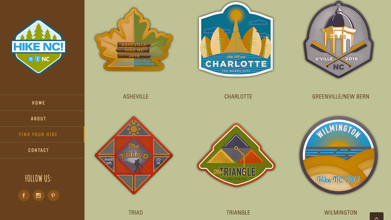 On the Hike NC! website, you can see a list of available hikes, organized by region.
