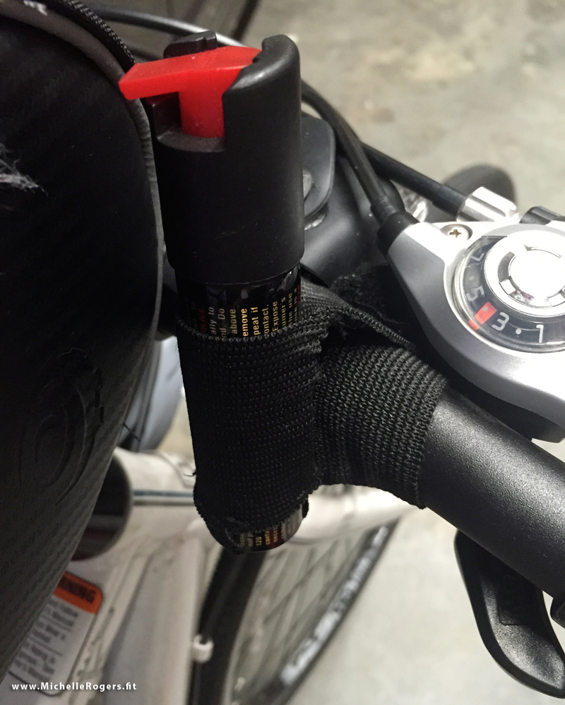 I wrap the velcro around my bike handlebar to keep the pepper spray right where I can quickly grab it.