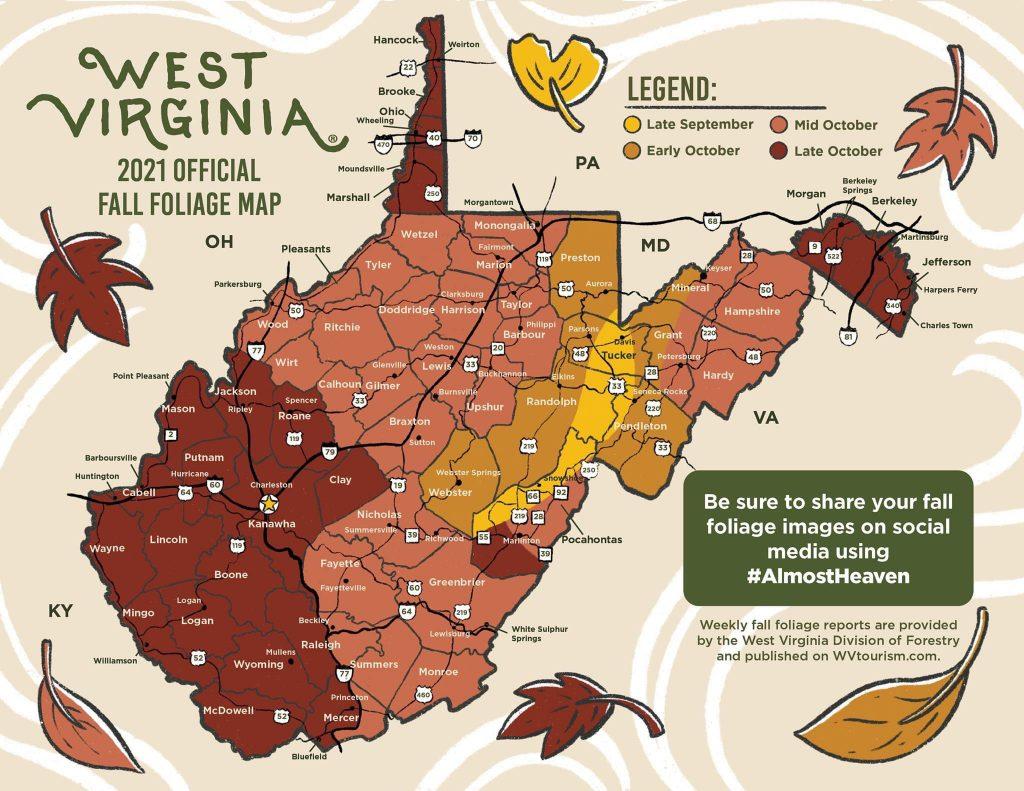 West Virginia fall foliage chart